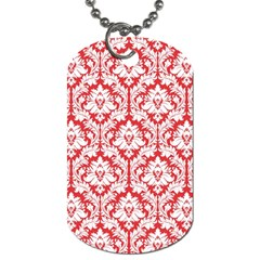 White On Red Damask Dog Tag (One Sided)