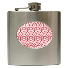 White On Red Damask Hip Flask