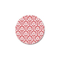 White On Red Damask Golf Ball Marker