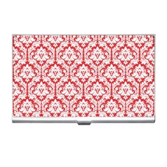 White On Red Damask Business Card Holder
