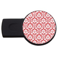 White On Red Damask 1GB USB Flash Drive (Round)