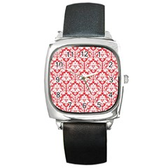 White On Red Damask Square Leather Watch