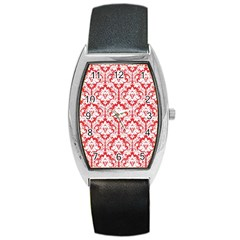 White On Red Damask Tonneau Leather Watch