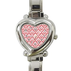 White On Red Damask Heart Italian Charm Watch