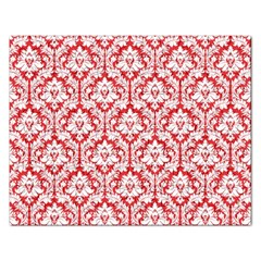 White On Red Damask Jigsaw Puzzle (Rectangle)