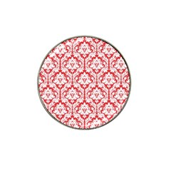 White On Red Damask Golf Ball Marker 4 Pack (for Hat Clip)