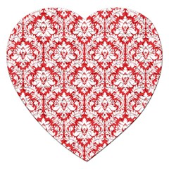 White On Red Damask Jigsaw Puzzle (Heart)