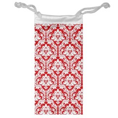 White On Red Damask Jewelry Bag