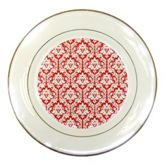 White On Red Damask Porcelain Display Plate