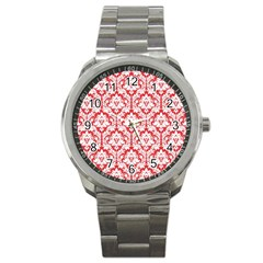 White On Red Damask Sport Metal Watch