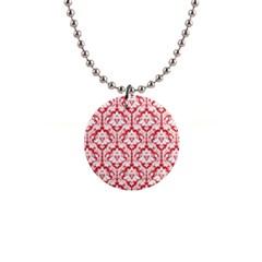 Poppy Red Damask Pattern 1  Button Necklace