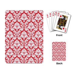 White On Red Damask Playing Cards Single Design