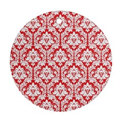 White On Red Damask Round Ornament (Two Sides)