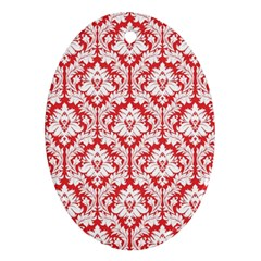 White On Red Damask Oval Ornament (Two Sides)