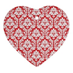 White On Red Damask Heart Ornament (Two Sides)