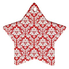 White On Red Damask Star Ornament (Two Sides)