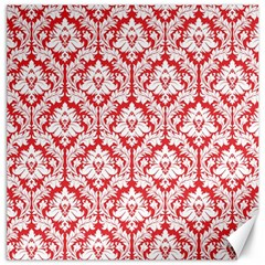 White On Red Damask Canvas 12  x 12  (Unframed)
