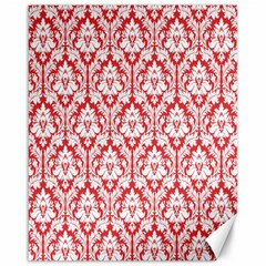 White On Red Damask Canvas 16  x 20  (Unframed)