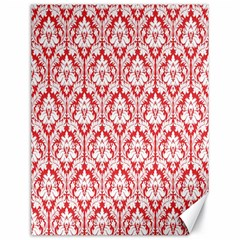 White On Red Damask Canvas 18  x 24  (Unframed)