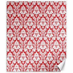 White On Red Damask Canvas 20  x 24  (Unframed)