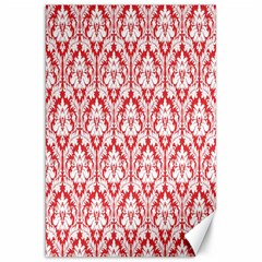 White On Red Damask Canvas 20  X 30  (unframed)