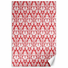 White On Red Damask Canvas 24  X 36  (unframed)