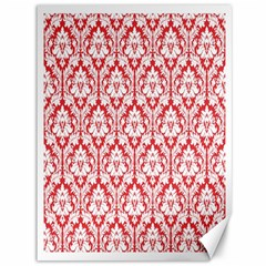 White On Red Damask Canvas 36  X 48  (unframed)