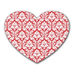 White On Red Damask Mouse Pad (heart)