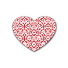 White On Red Damask Drink Coasters 4 Pack (heart)