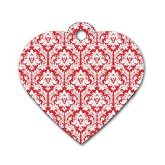 White On Red Damask Dog Tag Heart (One Sided)