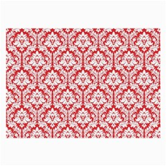 White On Red Damask Glasses Cloth (Large, Two Sided)