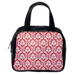 White On Red Damask Classic Handbag (One Side)