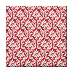 White On Red Damask Face Towel