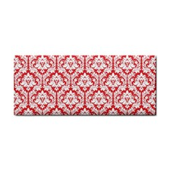White On Red Damask Hand Towel