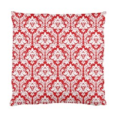 Poppy Red Damask Pattern Standard Cushion Case (two Sides)