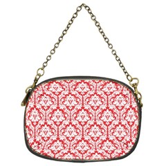 Poppy Red Damask Pattern Chain Purse (two Sides)