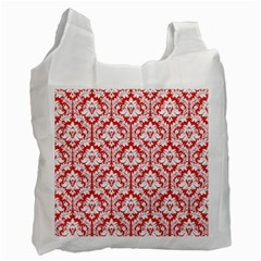 White On Red Damask White Reusable Bag (one Side)
