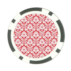 White On Red Damask Poker Chip (10 Pack)