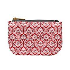 Poppy Red Damask Pattern Mini Coin Purse