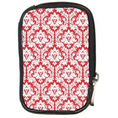 White On Red Damask Compact Camera Leather Case
