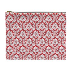 Poppy Red Damask Pattern Cosmetic Bag (XL)