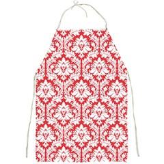 Poppy Red Damask Pattern Full Print Apron