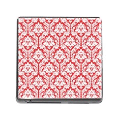 White On Red Damask Memory Card Reader With Storage (square)