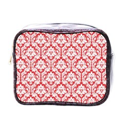White On Red Damask Mini Travel Toiletry Bag (One Side)