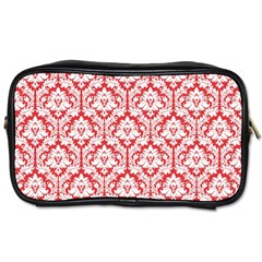 White On Red Damask Travel Toiletry Bag (One Side)