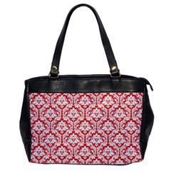 White On Red Damask Oversize Office Handbag (One Side)