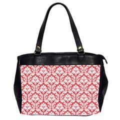 Poppy Red Damask Pattern Oversize Office Handbag (2 Sides)