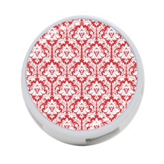 White On Red Damask 4-Port USB Hub (Two Sides)