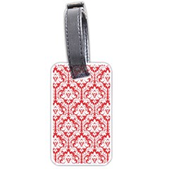 White On Red Damask Luggage Tag (two Sides)