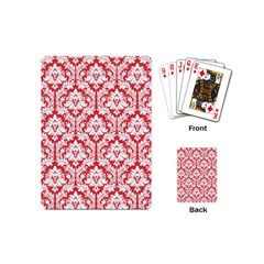 White On Red Damask Playing Cards (mini)